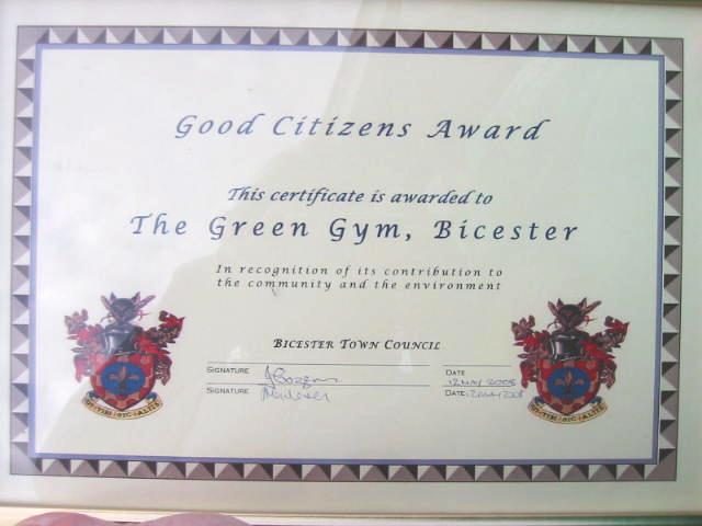 Good Citizens Award certificate