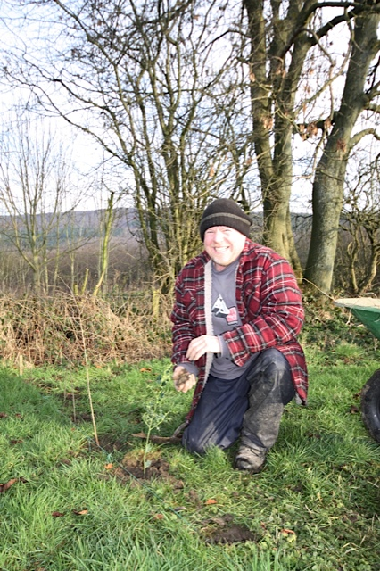 Mick planting the Allotment hedge January 2013