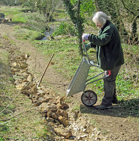 Repairing the eroded footpath in Pool Meadow.
