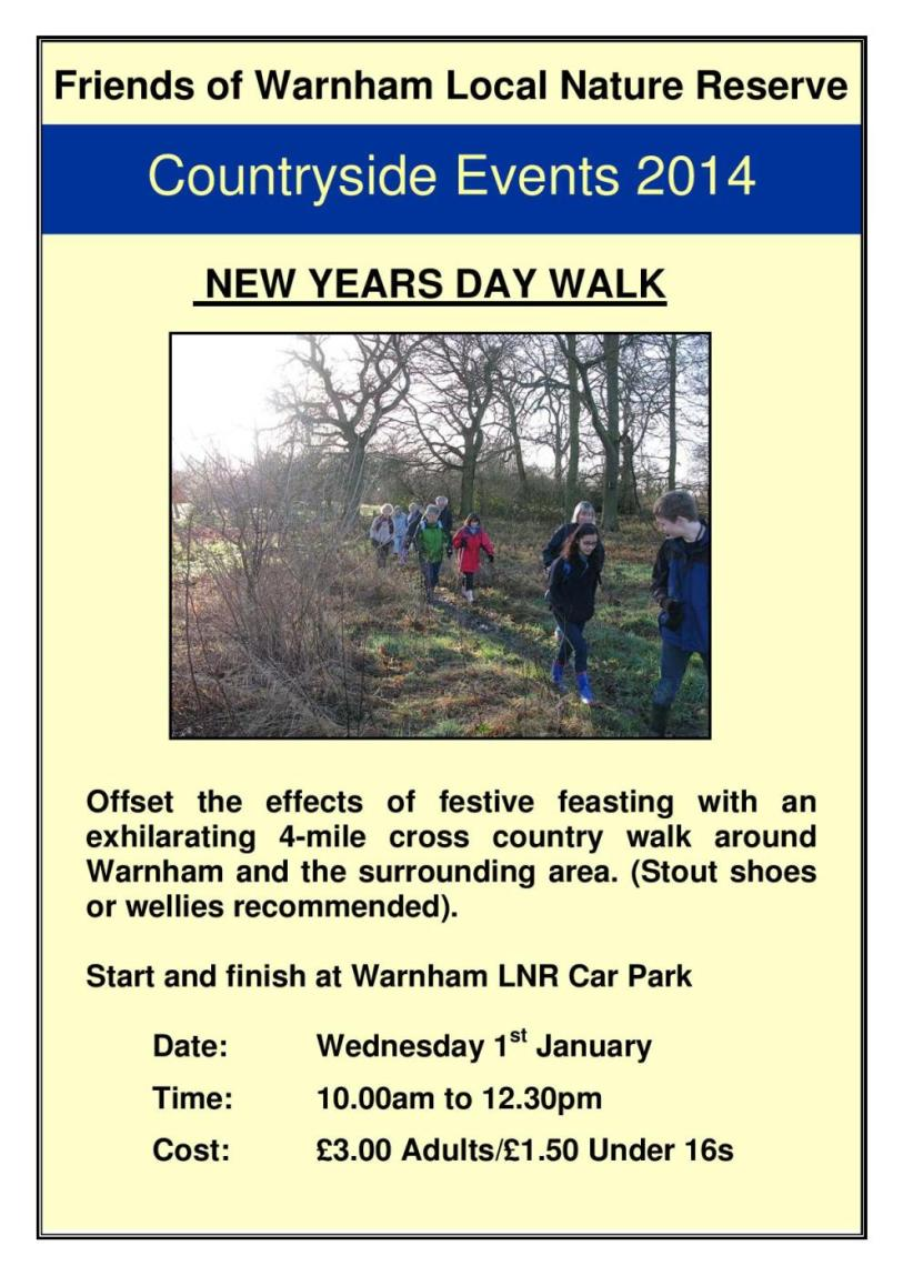 New Years Day walk information