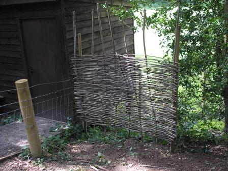 a willow screen on the right hand side of the hide