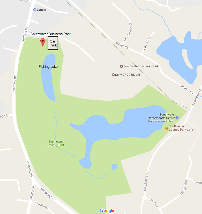 Southwater fishing lake parking map