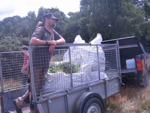 Andy and 3 builders' bags of bracken and other plant material in trailer