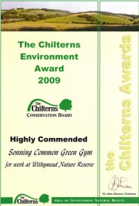 the Chiltern Awards certificate
