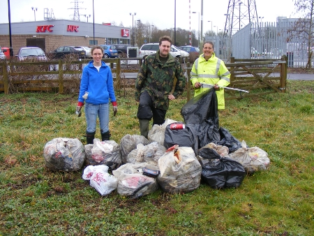 Volunteers collecting rubbish