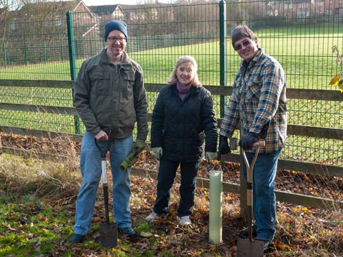 The first Oak tree (Ken, Lydia and Peter)