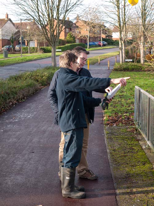 MP Iain Stewart viewing the scope of the project from the High Street