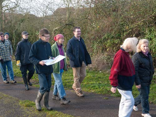TMAEG volunteers touring the site with Iain Stewart