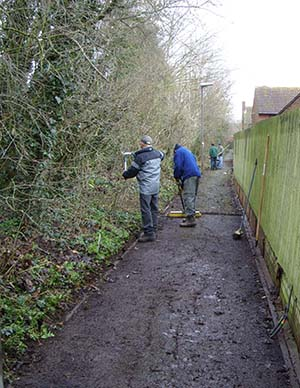 During – trimming the hedgerow after opening up the footpath